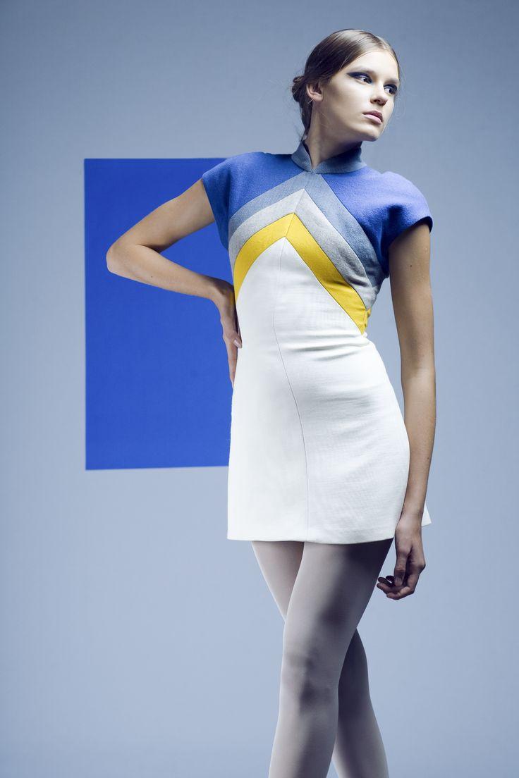 Short multi-colored fabrics dress.  Geometrics collection created in 2008.