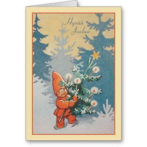 Finlandssvensk Hyvää Joulua för vintage julkort Kort