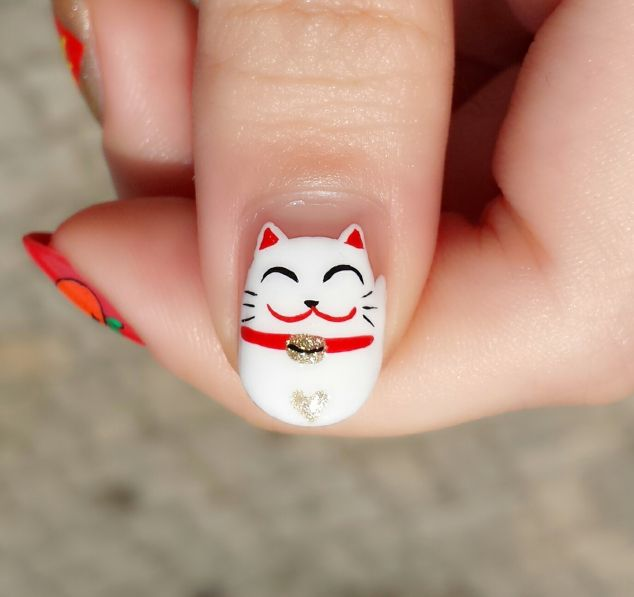 36 best lunar new year nails images on pinterest chinese new chinese new year fortune cat nails prinsesfo Image collections