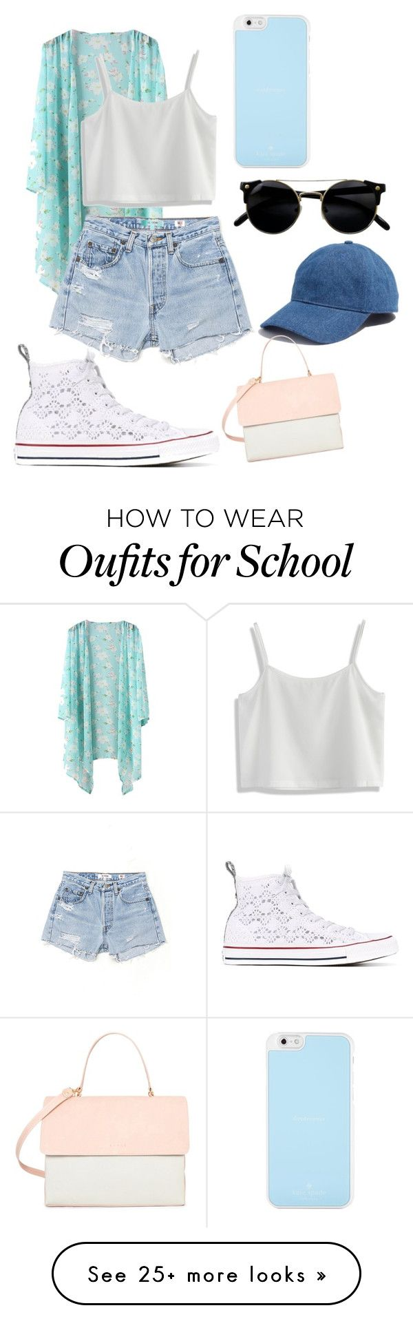"""Counting the Days Until School's Out"" by thatgirl6411xx on Polyvore featuring Chicwish, RE/DONE, Converse, Kate Spade, Madewell and Eddie"
