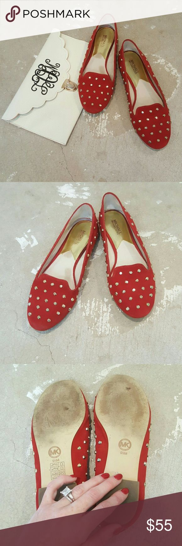 MICHAEL by Michael Kors Red & Gold Studded Loafers I am selling a gorgeous and sexy pair of MICHAEL by Michael Kors Red, slip-on loafers.  These are demurely sexy, the red color is bold while the silhouette is preppy chic.  Excellent condition size 9.5, all wear is on bottom of sole, top and insole is great!!  Slip into class and comfort from an American Icon of a designer!! MICHAEL Michael Kors Shoes Flats & Loafers
