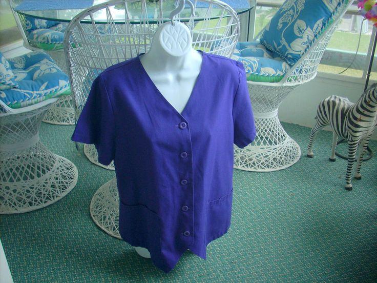 Landau Purple SCRUB TOP  MEDICAL WOMENS HOSPITAL UNIFORM  MEDIUM EXCELLENT USED #Landau