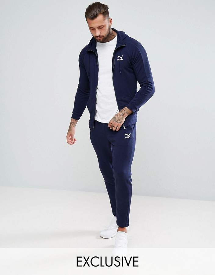 b0611edf9d53 Puma Skinny Fit Tracksuit Set In Navy Exclusive to ASOS