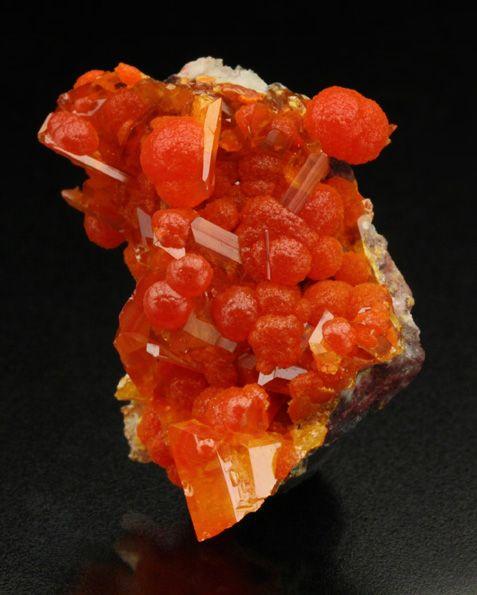 Mimetite with Wulfenite - Rowley Mine, Theba, Painted Rock District, Maricopa Co., Arizona     mw