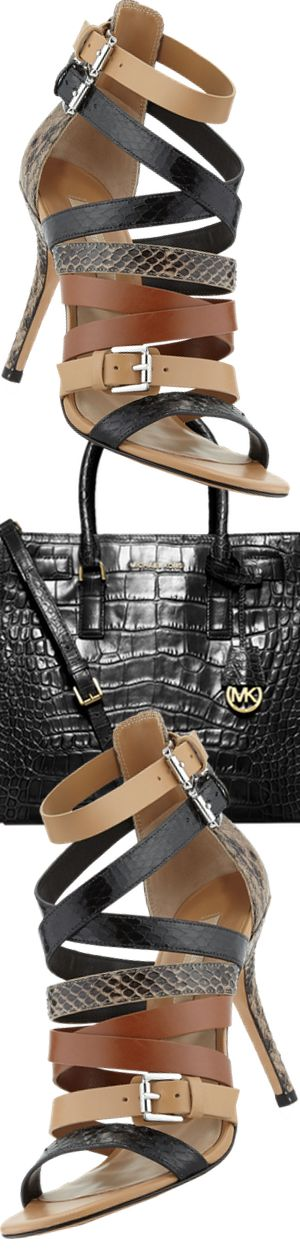 Michael Kors Cecilia Mixed Media Strappy Sandal and MICHAEL Michael Kors Dillon Croc-Embossed Tote Bag, Black