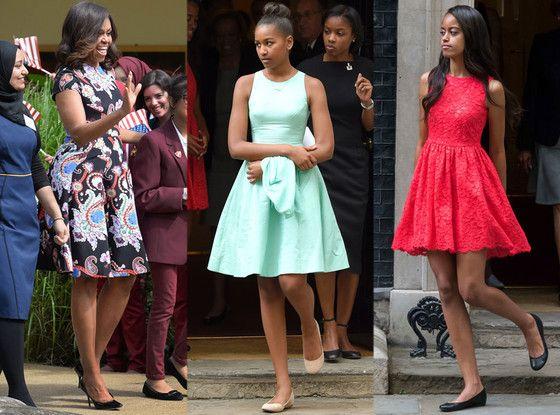 Day 2! Michelle, Sasha & Malia Obama Wow With 4 Ladylike Dresses in London Again  Michelle Obama, Sasha Obama, Malia Obama