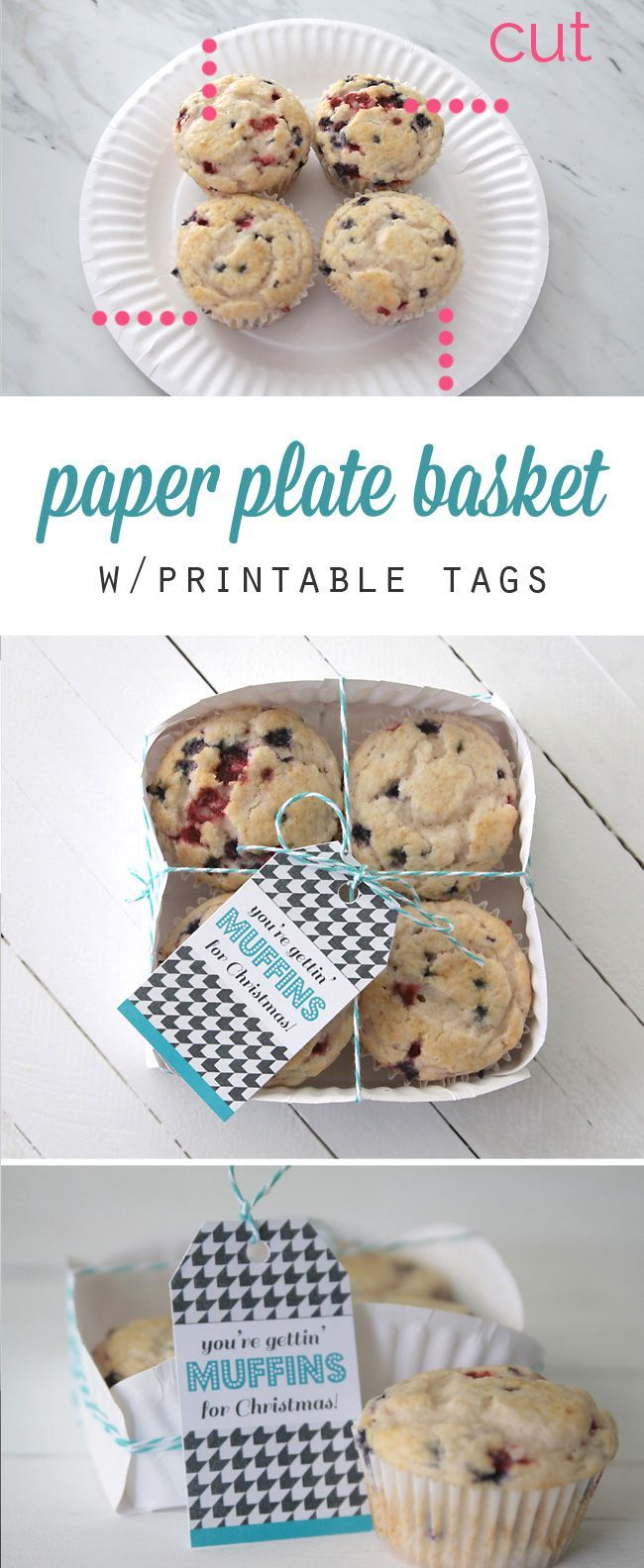 Make four quick cuts in a paper plate and turn it into a super cute treat basket!