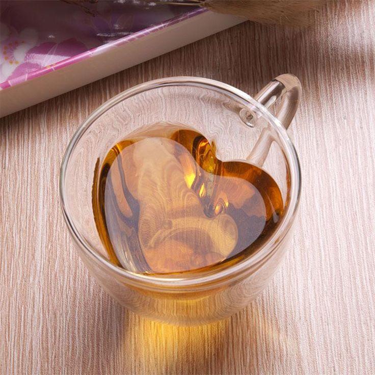 Heart Shaped Double Wall Glass Tea Cup Or Coffee Mug