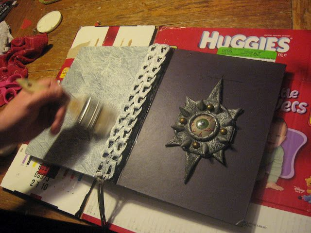 Turning a thrifted book into a spell book prop