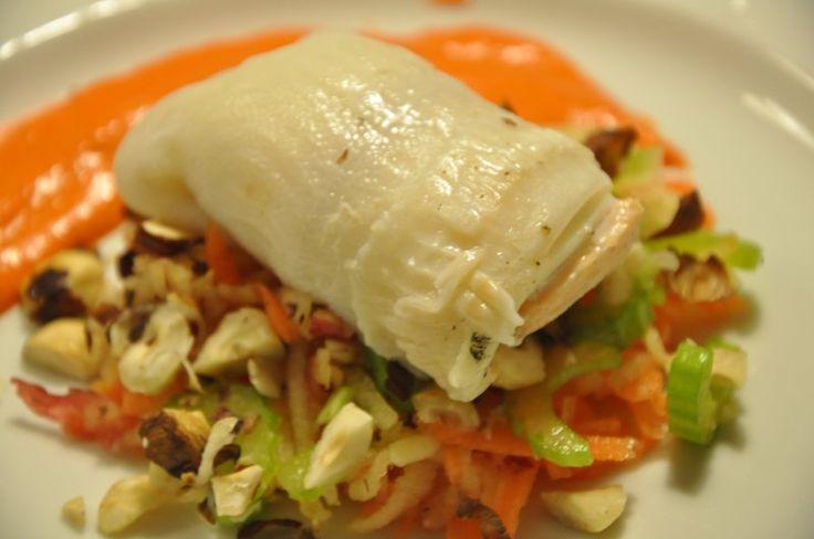 Fiskeruller med peberfrugtcreme og sauterede grønsager