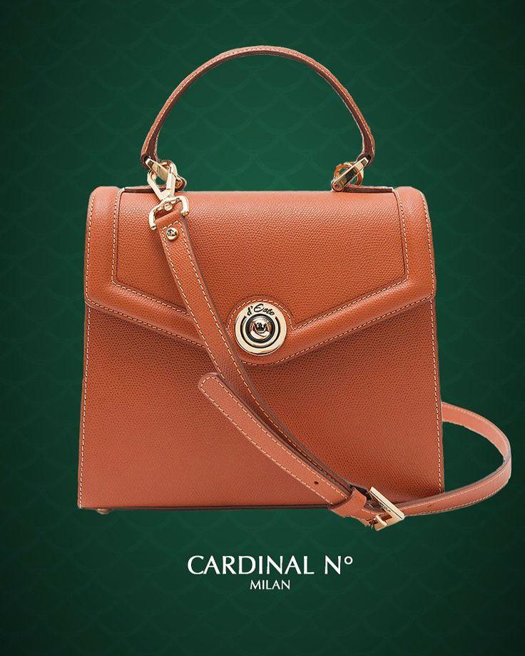 d'Este Monaco cognac textured leather shoulder bag is embellished with golden hardware and crown symbol at www.cardinalno.com