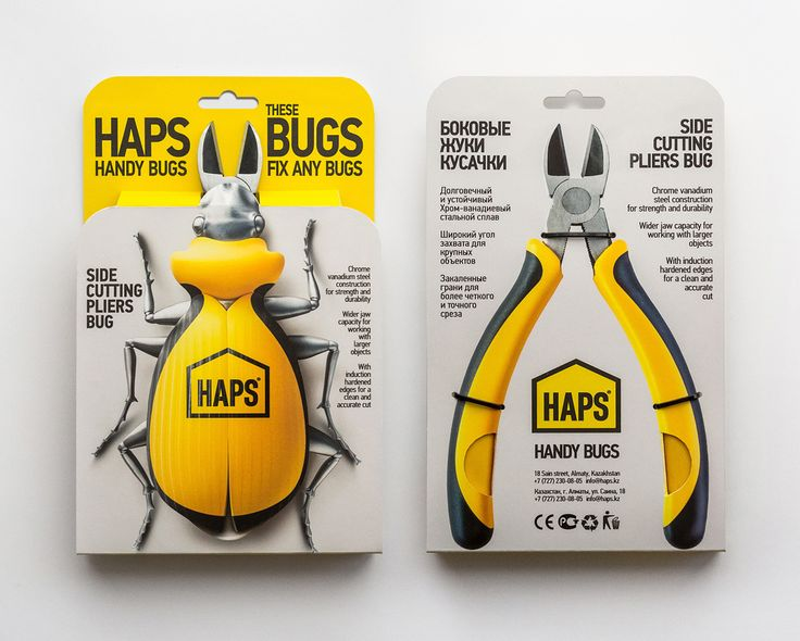 """""""HAPS HANDY BUGS"""" Pliers packaging design /   THE TASK /  HAPS is a hardware store. Under the marketing plan, a number of the measures have been proposed to the clients in order to increase the buyer loyalty. One of these steps is a small..."""