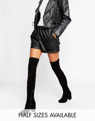 ASOS KATCH UP Stretch Over The Knee Heeled Boots