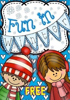 Fun in Winter Freebie Set of Printables for Kinders and First Graders FREEBIE