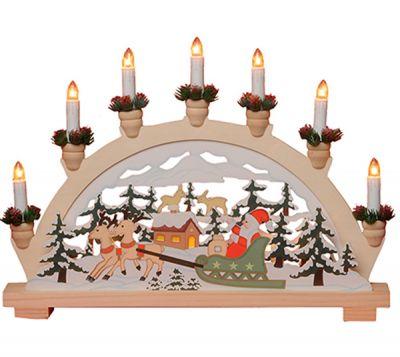 Lazer Cut Ljusstake Tomte i Släde - Julbelysning från Star Trading