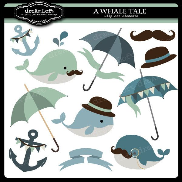 Whale Tale Digital Collage Sheet Clipart for parties, stationary, invitations, scrapbooking. $4.99, via Etsy.