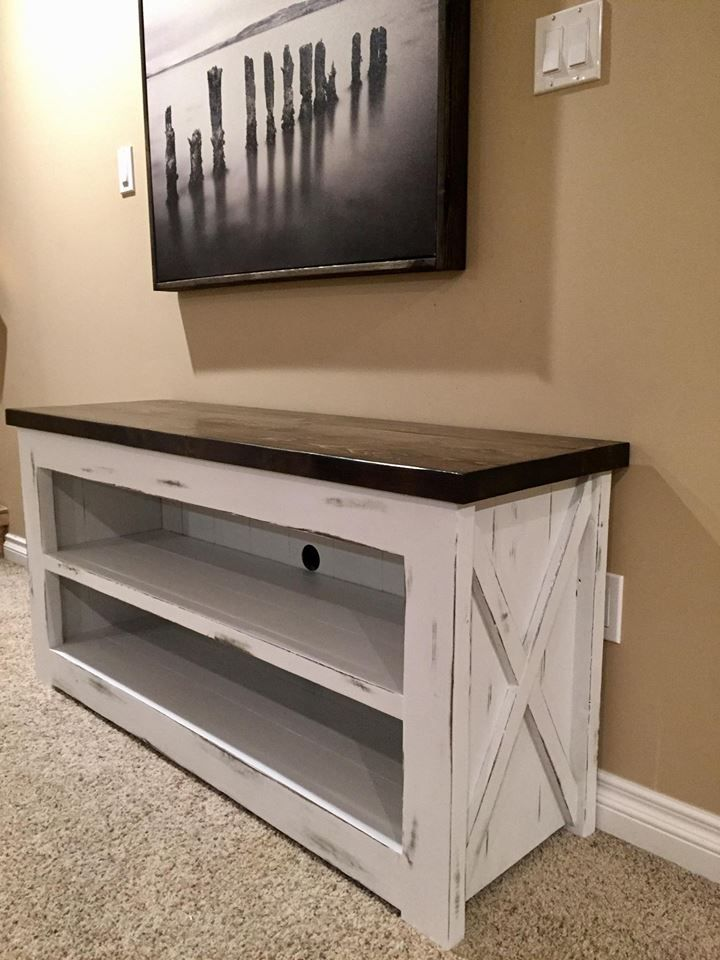 Rustic Planked Tv Stand Espresso Stained Top And A Linen Chalked