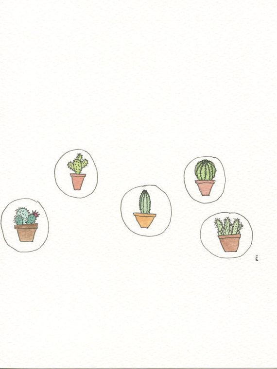 Cacti Watercolour Illustration Original by emilieOillustration