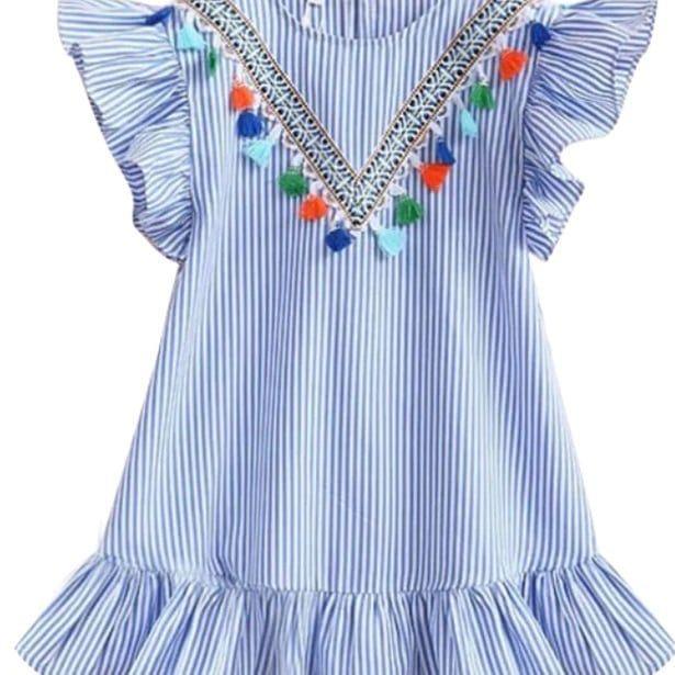 Girls Flutter Sleeve Unicorn Mermaid Dresses Summer Party Beach Hawaiian Clothes