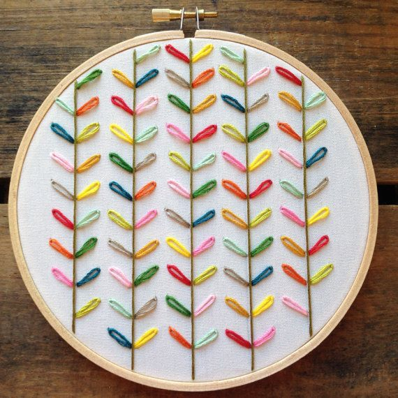 Bright happy colors! Orla Kiely inspired embroidery design.