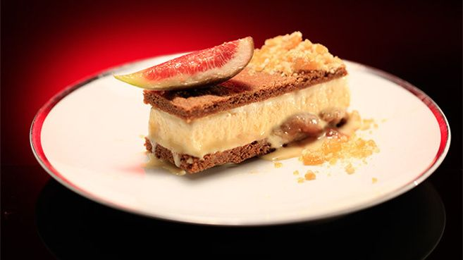 Fig and Honey Ice-Cream Sandwich with Almond Praline