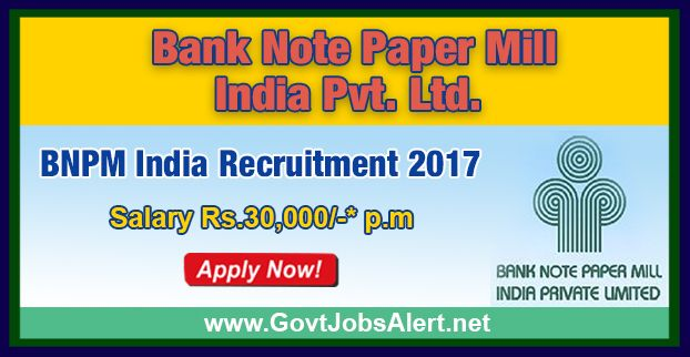 BNPM Recruitment 2017 - Hiring CA/ ICWA candidate Posts, Salary Rs.30,000/- : Apply Now !!!  The Bank Note Paper Mill India Private Limited– BNPM Recruitment 2017 has released an official employment notification inviting interested and eligible candidates to apply for the positions of CA/ICWA candidate in Finance and Accounts division - Manufacturing industry exposure.