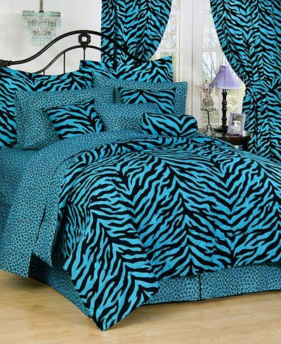 blue zebra bedroom Bedroom Design:  Zebra Stripes Styling