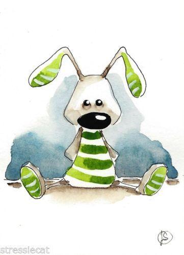 ACEO Original Watercolor Folk Art Illustration Whimsy Green Stripe Rabbit Bunny | eBay