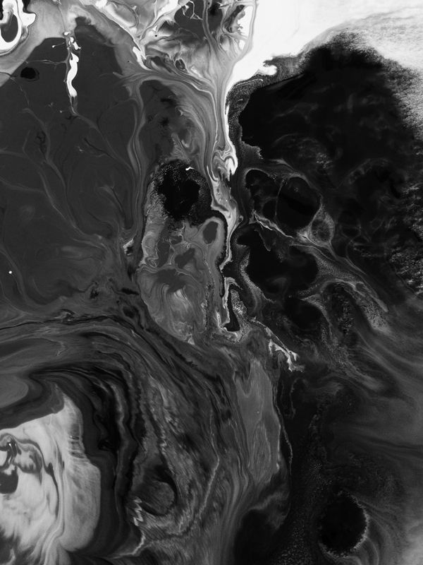 initial inspiration of fluid motion, greasy and black tar