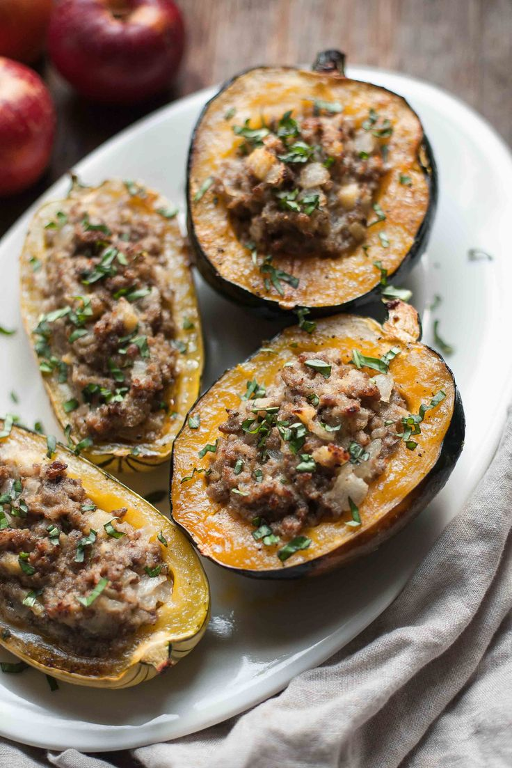 Stuffed squash with sausage and apple is the ultimate Whole30 comfort food for…
