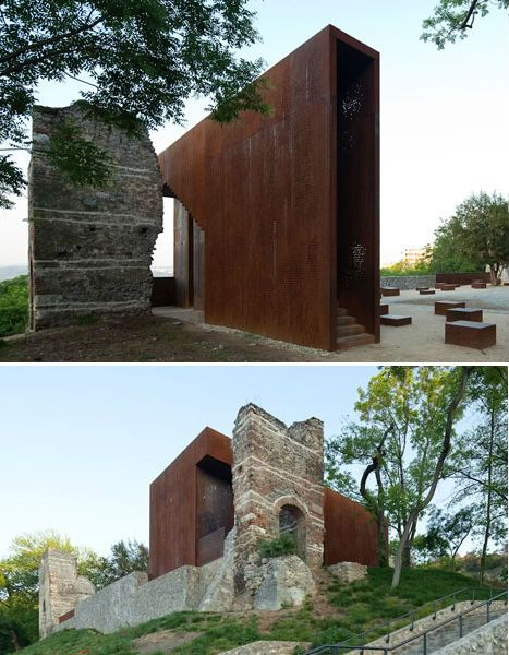 ruined renaissance palace in hungary gets corten steel addition