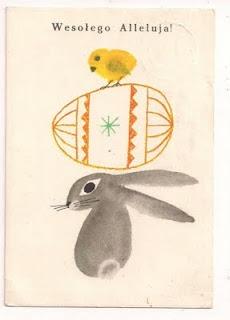 vintage bunny illo: Rabbit, Holiday, Vintage Polish, Polish Easter, Easter Postcards, Easter Cards, Search, Illustration, Design