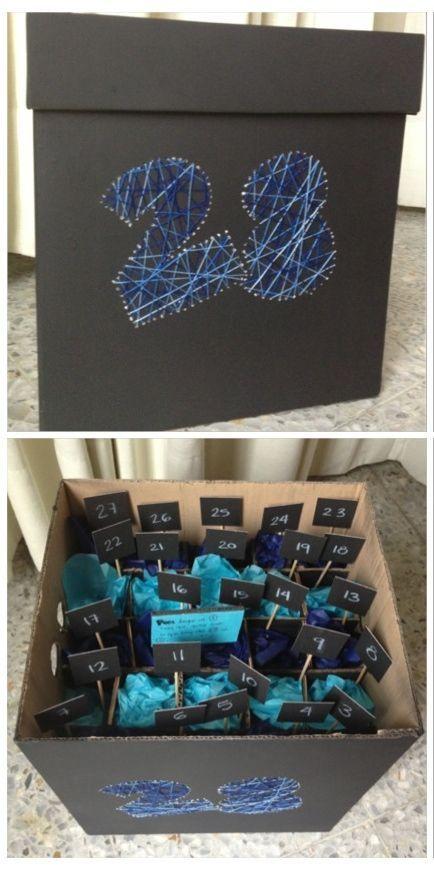 A little birthday present for each year and the Main present under all the little ones. #birthday #present #boyfriend: