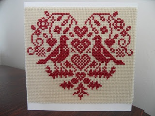 Heart sampler cross stitched greetings card - Craft with Ruth Cartwright