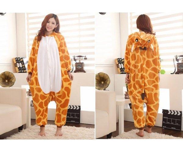 Cartoon Animal Giraffe Unisex Adult Flannel Onesies Onesie Costume