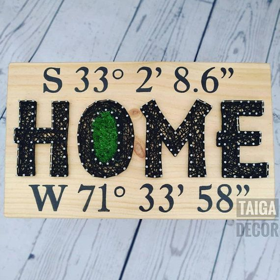 Custom Coordinates GPS Quote Home String Art Sign Latitude Longitude Wood Welcome New Home Address Location Handwriting Housewarming Gift