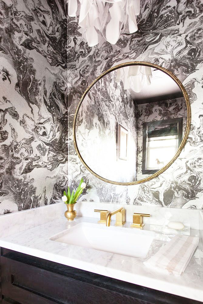 A beautiful bathroom decor, with an elegant wall mirror by Martyn Lawrence Bullard wallcovering for Schumacher | For more inspirations: http://www.bocadolobo.com/en/products/#cat-mirrors