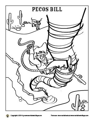 Pecos Bill Coloring Page Pecos Bill Fairy Tale Crafts Coloring