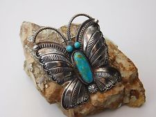 Vtg Old Pawn NAVAJO R H BOYD Sterling Silver Turquoise BUTTERFLY PENDANT BROOCH