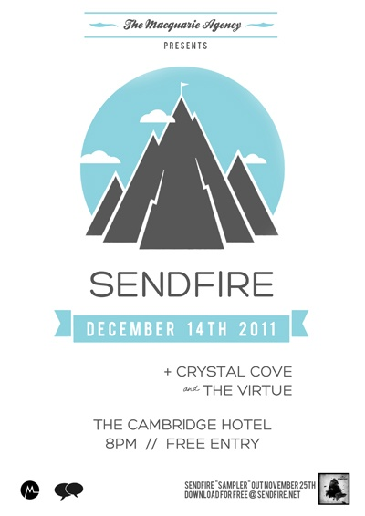 A poster I created for my band's (SENDFIRE) EP release