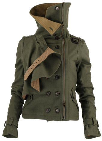 Edgy double breasted military style jacket.
