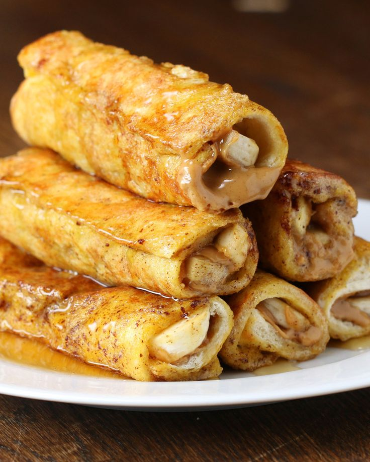 Peanut Butter and Banana French Toast Roll-Up. Roll these up for Sunday brunch.