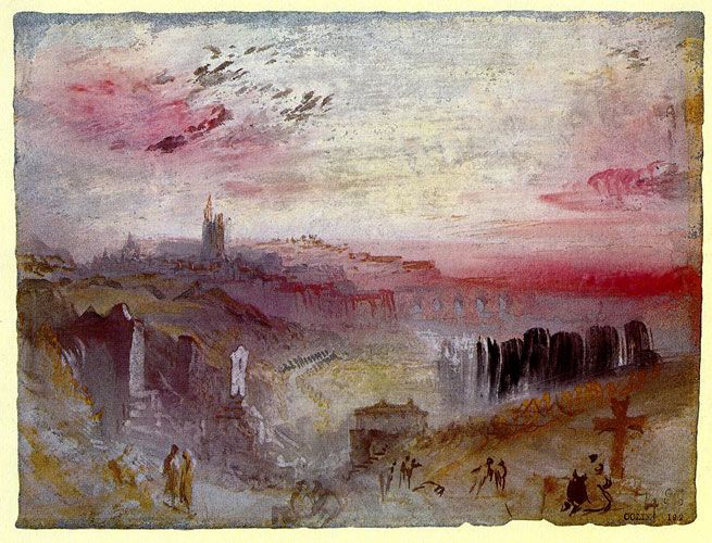 Уильям Тернер. Вид над городом на закате с кладбищем на переднем плане. 1832 г.