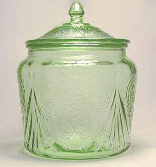 """(Depression Glass)  """"The Royal Lace pattern was manufactured by the Hazel Atlas Glass Company in Clarksburg, West Virginia and Zanesville, Ohio, between 1934 and 1941. Pieces were produced in cobalt blue, pink, green, crystal, and a few rare pieces in amethyst. """""""