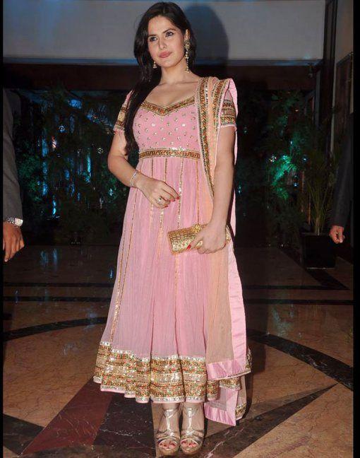 zarine khan in a pink anarkali salwar