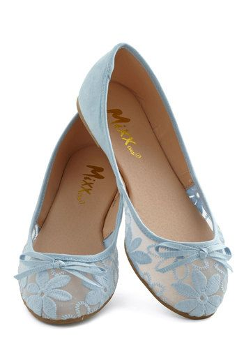 Gossamer Girls Flat in Sky Blue - Flat, Sheer, Faux Leather, Woven, Blue, Solid, Floral, Bows, Embroidery, Good, Daytime Party, Variation