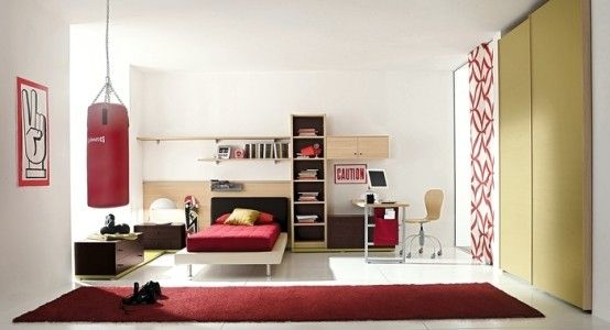 Boys Room Ideas. I like the side boxing space, great idea for a private exercise spot in your bedroom.