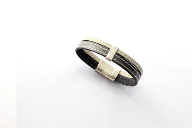 Bracelet Homme Cuirs cousus Argent antique et Beige passant étain (Taille personnalisable à la commande) : Bijoux pour hommes par creea2-atelier