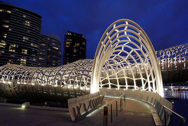 Webb bridge at the blue hour docklands melbourne for Unique architectural design