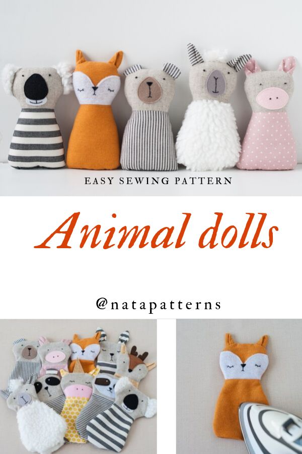 PDF Animals sewing pattern for kids girls baby Stuffed toys tutorial Animal Rag doll Beginner sewing project DIY Baby gift Handmade toys PDF
